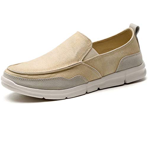 LANCROP Men's Slip On Shoes - Casual Lightweight Canvas Deck Boat Loafers Flat 7.5 M US Brown