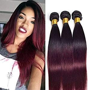 (Ombre Human Hair Bundles Brazilian Silky Straight Real Hair Extension 3 Bundles Black To Wine Red Ombre Two Tone Hair Weave Wefts(T1b/99j,14 16 18 Inch))