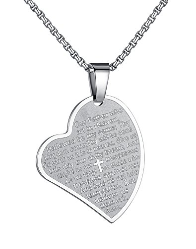 Aoiy Womens Stainless Steel Heart Our Father Lords Prayer Cross Pendant Necklace, 21 Chain