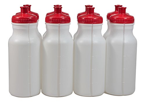Sports Squeeze Plastic Water Bottles Push/Pull Cap 20 Ounce Bpa-Free Set 8 Red Cap
