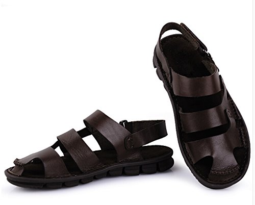TM toe On Genuine shoes Slip Fashion closed Leather mens Sandal Coffee Beach Casual HAPPYSHOP vFqwpd1vY