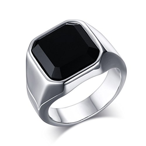 Fashion Stainless Steel Black CZ Ring for Mens Womens Wedding Engagement Promise,Size 9 (Onyx Black Vintage)