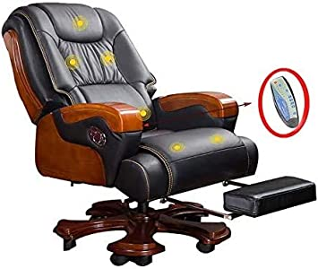 FYH Sillas, sillas de Oficina, Silla ergonómica Ordenador con función de Masaje, heces práctica, los apoyabrazos de Madera, Modernos Ruedas giratorias, 10, Negro,Black