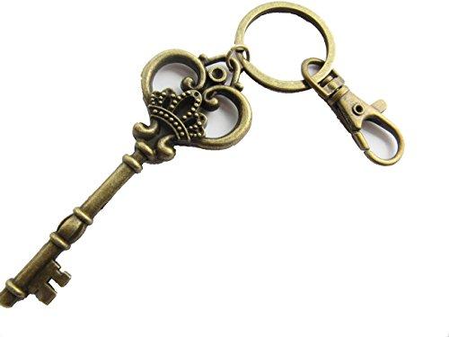 (Large Skeleton Key keychain, Antique bronze Finish Key, Ornate Victorian Style, Crown keyring with Swivel Clasp)