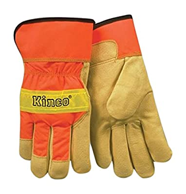 KINCO 1918-XL Men's High Visibility Unlined Grain Pigskin Safety Cuff Gloves, X-Large, Orange