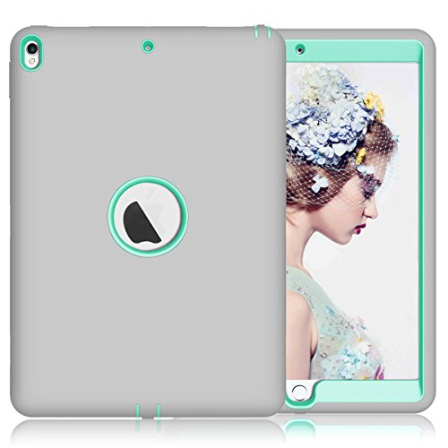 - iPad Pro 10.5 Case, SUMOON [New] 3 in 1 High Impact Anti-Scratch Shockproof Silicone Rubber Hybrid Three Layer Case Full Protection Cover for Apple iPad Pro 10.5 inch 2017 Released (Grey/Mint)
