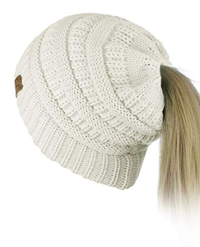 C.C BeanieTail Soft Stretch Cable Knit Messy High Bun Ponytail Beanie Hat, Ivory