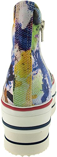 Maxstar CN9 7-Holes Zipper High-Top Double Platform Sneakers Shoes Printed-Blue mJw7jHA