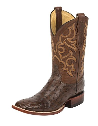Justin Men's Tobacco Full Quill Ostrich Cowboy Boot Square Toe Tobacco 12 (12 Ostrich)
