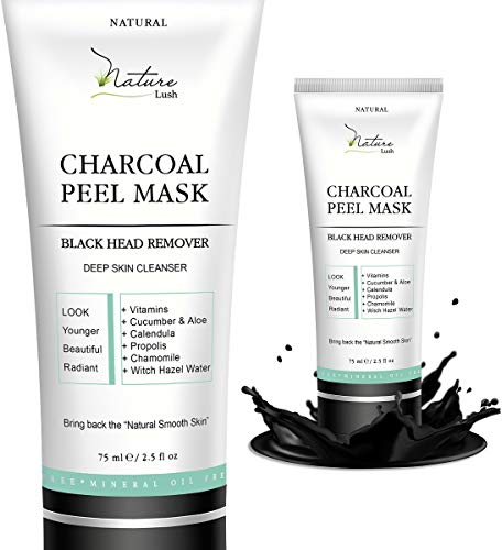 Best European Natural Blackhead Remover - Charcoal Peel Mask, Deep Cleansing, Oil Control, Antiaging Wrinkle Reduction, Pore Cleansing for Acne - 2.5 fl oz - Made in Crete Greece - by Nature Lush