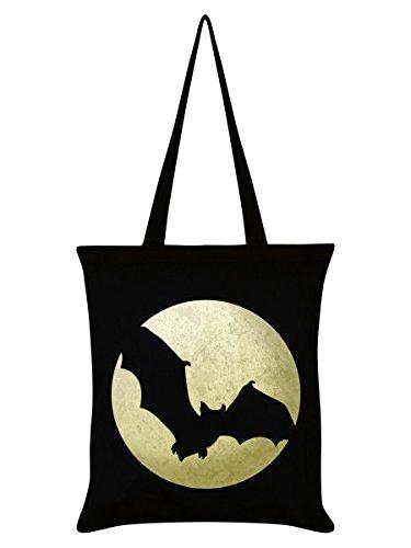 Borsa Tote Bat Moon Silhouette 38 x 42 cm in nero