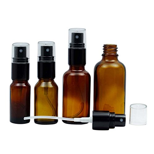6 Pcs bouteilles vides en verre ambre avec Black Atomizer Cap Boston round Bouteilles d'Huile Essentielle gros parfum rechargeable vaporisateurs 10 ML