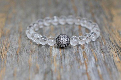 Herkimer Diamond Quartz Crystal Gemstone Oxidized Silver Bracelet- 7
