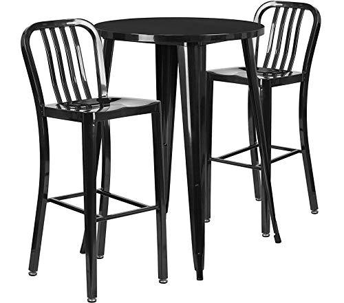 Flаsh Furniturе Patio Outdoor Garden Premium 30'' Round Black Metal Indoor-Outdoor Bar Table Set with 2 Vertical Slat Back Stools