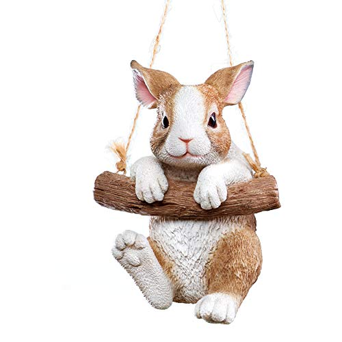 Collections Etc Hang Around Bunny Tree Decoration- Textured Hand-Painted Accent for Tree or Porch, Brown and White
