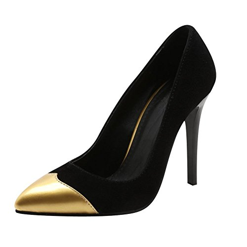 Carolbar Mujeres Pointed Toe Sexy Party Tacones Altos Bombas Zapatos De Oro