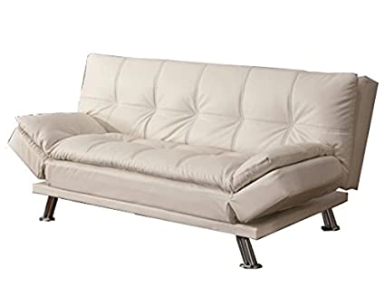 Coaster Dilleston Contemporary Futon Sleeper Sofa With Casual Seam  Stitching, White
