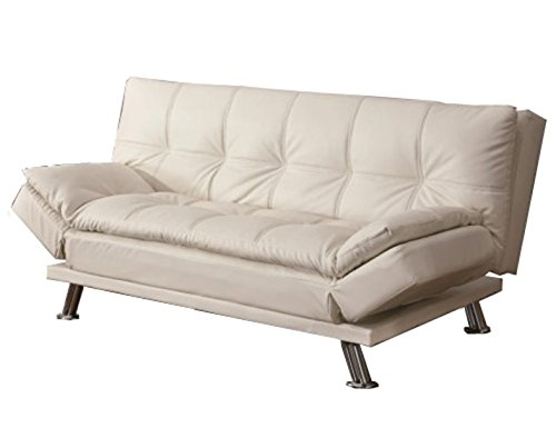 Coaster Home Furnishings Dilleston Convertible Futon Sofa Bed - White Faux Leather (Futon Top)