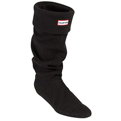 Welly Socks Fleece (Hunter Adults Boxed Fleece Welly Socks (US FEMALE 8-10, Black))