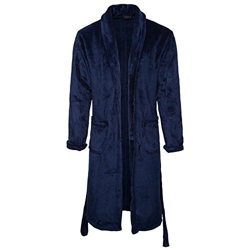 New Mens Thickening Coral Fleece Bath Robe Dressing Gown Shawl Collar Bathrobe Perfect for Home leisure Shower Bathing Hotel Holiday , tibet blue , 170 (l)