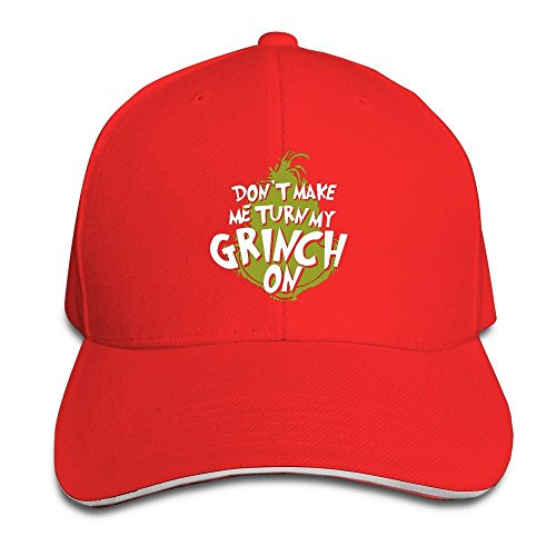 [Runy Custom Dont Make Me Grinch Me Adjustable Sanwich Hunting Peak Hat & Cap Red] (Party City Indian Costume)