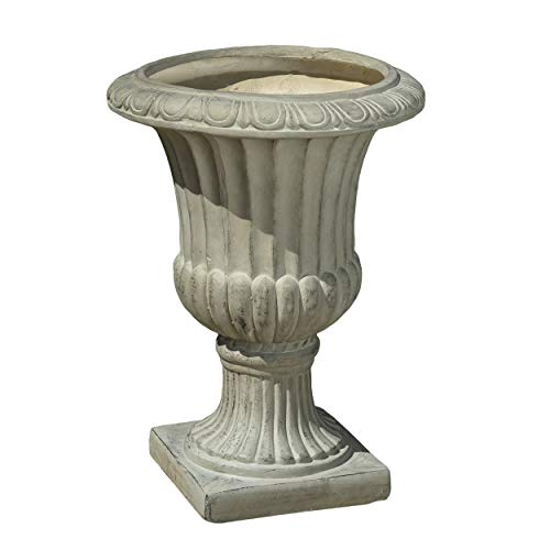 Great Deal Furniture 217252 Outdoor/Indoor Antique Green Stone Finish Planter/Urn