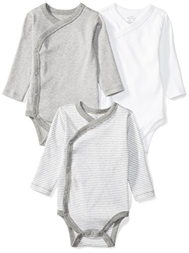 Moon and Back Baby Set of 3 Organic Long-Sleeve Side-Snap Bodysuits, Grey Heather, 0-3 - Snap Baby Front Boys