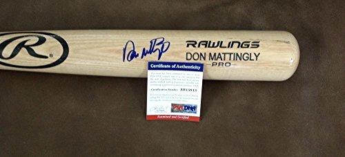 Don Mattingly New York Yankees Signed Rawlings Engraved Blonde Bat Psa Ab15813