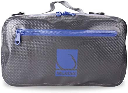 Mustad Waist Bag, Waterproof 500-Denier Tarpaulin w Waterproof Zippers, Adjustable, One Size Fits All Belt, Grey Blue MB024