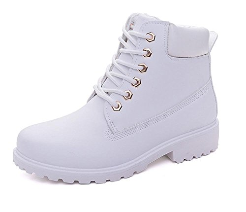 Maybest Unisex Short Combat Chelsea Retro Lace Up Martin Ankle High Tops Boots Work Hiking Trail Biker Shoes - stylishcombatboots.com