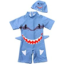 MEOILCE Baby Boys Swimsuit One Piece Toddlers Cartoon Dinosaur Bathing Suit Swimwear with Hat