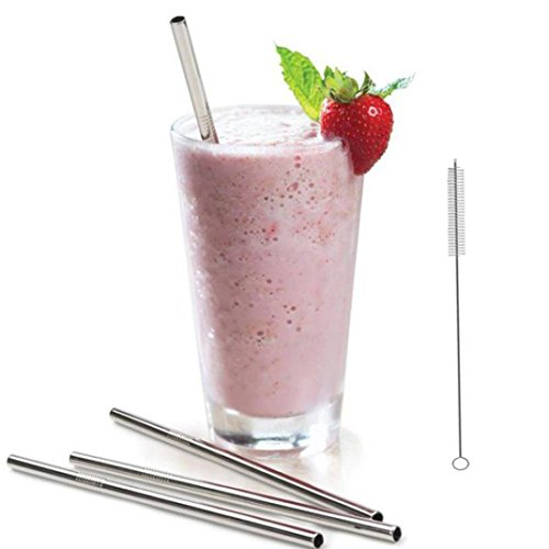 YJYdada 3 Long Stainless Steel Drinking Straws 20 Oz & 30 Oz Cups Cleaning Brush Include