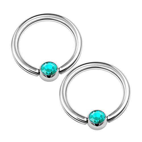 2PCS Surgical Steel Captive Hoop Earrings 16g 5/16 8mm 3mm Blue Zircon Crystal Ball Rim Septum Piercing Jewelry 1341