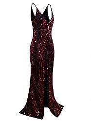 Long Sequin Slit Prom Dress Deep V-Neck