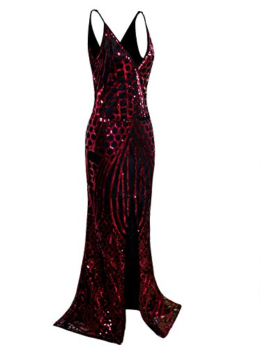 VIJIV Vintage 1920s Slip Prom Dresses Deep V Neck Sequin Long Great Gatsby Evening Dress Red M