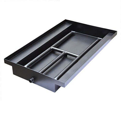 (Stanbroil Powder Coated Steel Fireplace Box Pan with Dual Flame H Burner)
