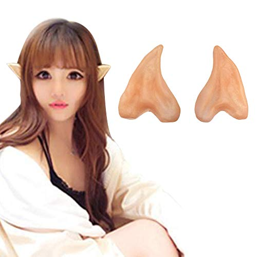1 Pair Latex Fairy Pixie Elf Ears Cosplay Accessories Halloween Party Mask Latex Soft Pointed Prosthetic Tips False Ear