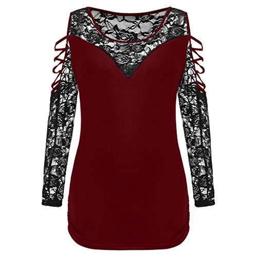 Plus Size Lattice Lace Sleeve O-Neck T-shirt ()
