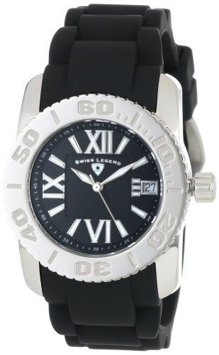 Swiss Legend Women's 10114-01 Commander Black Polyurethane and Stainless Steel Watch