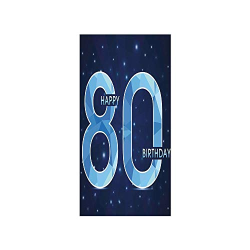 Ylljy00 Decorative Privacy Window Film/Diamond Age 80 Happy Birthday Party Theme with Stars/No-Glue Self Static Cling for Home Bedroom Bathroom Kitchen Office Decor Navy Blue and Sky Blue