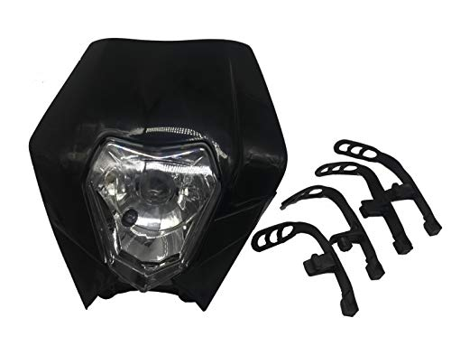 (Sibaken Universal 12V 35W Motorcycle Supermoto Halogen Headlight Indicator Fairing Lampshade for KTM IC4 620 KTM EXC Suzuki RM RMZ Honda XR Dirt Bike Motor Black)