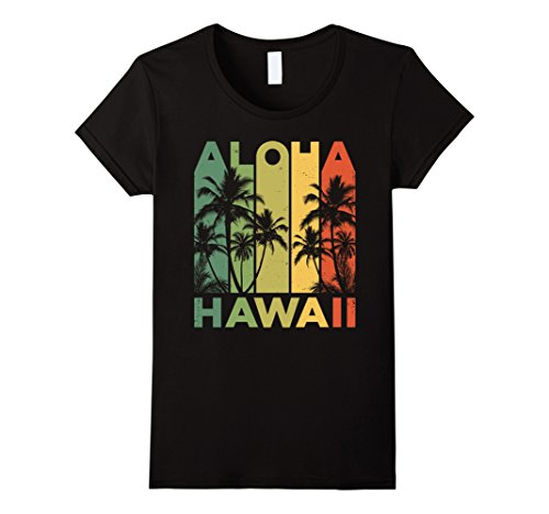Womens Vintage Hawaiian Islands Tee Hawaii Aloha State T Shirt Medium Black