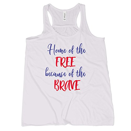 Home of The Free Because of The Brave Tank Top Patriot Tank Top Women (Awesome Lyrics God)