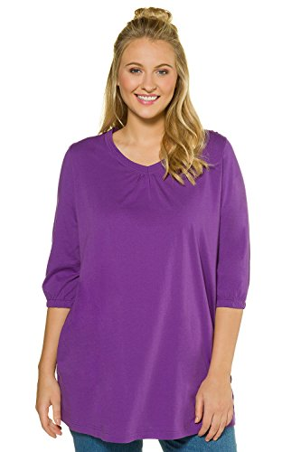 Ulla Popken Women's Plus Size Gathered V-Neck Knit Tunic Blackberry 20/22 715131 58