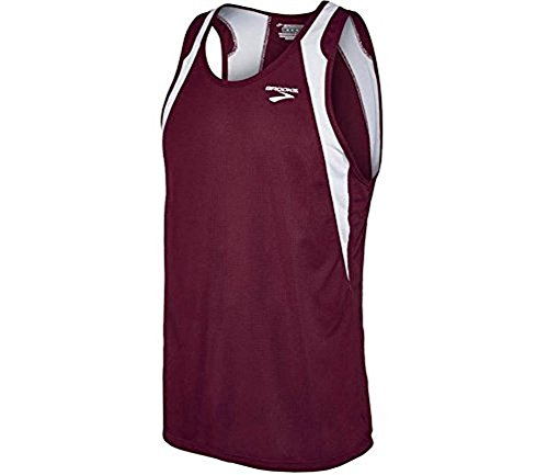 (Brooks Athletic Sprinters Sleeveless Top - Maroon/White -)