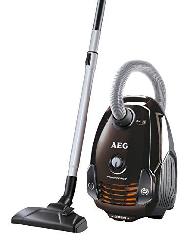 AEG PowerForce APF6130 Staubsauger mit Beutel (700 Watt, inkl. Hartbodendüse, 3,5 l Staubbeutelvolumen, Softräder, waschbarer Hygiene Filter E12) braun