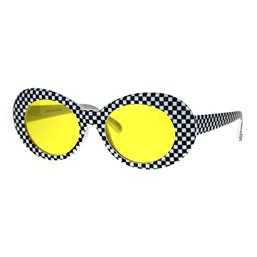 Womens Mod Checker 20s Vintage Style Oval Plastic Sunglasses - 1920s Sunglasses
