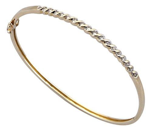 Jewellery World Bague en or jaune 9carats de diamants dans un style corde Bracelet à Charnière