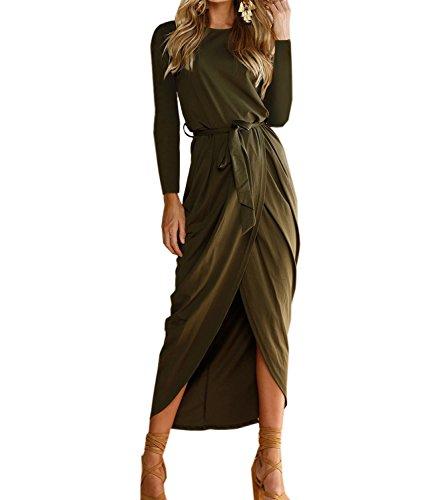 Green Mansy T Dresses High Long Sleeve Maxi Women's Casual Tunic Shirt Low Dress f7fqHAw