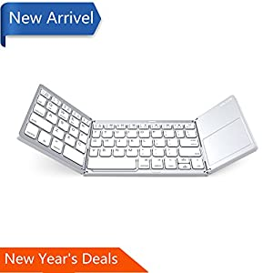 Foldable keyboard with Touch Pad, IKOS Ultra Slim Tri-folding Portable Keyboard for iPhone iPad Samsung Smartphone Tablet , Wireless BT Keyboard with Ergonomic Design Rechargeable Battery